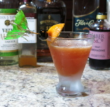 Hurricane Cocktail with a distressed cocktail umbrella