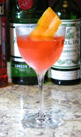 Lucien Gaudin cocktail with an orange twist garnish