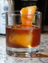 Old Fashioned cocktail with an orange twist for garnish